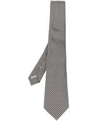 Cravate en soie brodée gris foncé Canali
