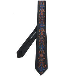 Cravate en soie brodée noire Alexander McQueen