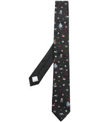 Cravate en soie brodée noire Valentino Garavani