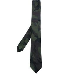 Cravate en soie camouflage vert foncé Valentino Garavani