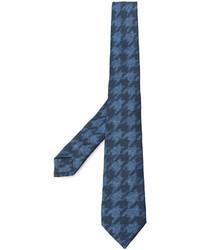 Cravate en soie en pied-de-poule bleue Etro