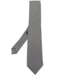 Cravate en soie en pied-de-poule noire Etro