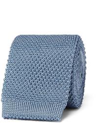 Cravate en soie en tricot bleu clair Burberry