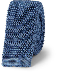 Cravate en soie en tricot bleu marine Charvet
