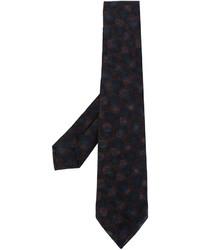 Cravate en soie en tricot bleu marine Kiton