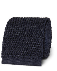 Cravate en soie en tricot bleu marine Tom Ford