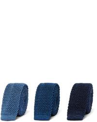 Cravate en soie en tricot bleue marine Charvet