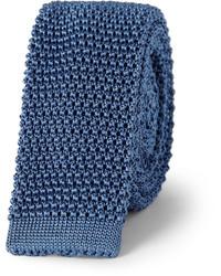 Cravate en soie en tricot bleue marine