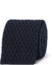 Cravate en soie en tricot bleue marine Ermenegildo Zegna