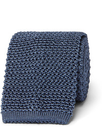 Cravate en soie en tricot bleue marine Tom Ford