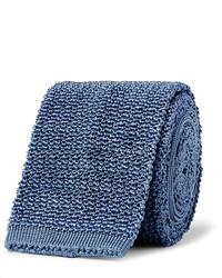 Cravate en soie en tricot bleue Dunhill