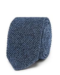 Cravate en soie en tricot bleue Ermenegildo Zegna
