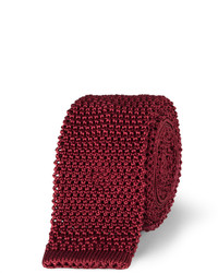 Cravate en soie en tricot bordeaux Charvet
