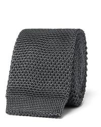 Cravate en soie en tricot gris foncé Burberry