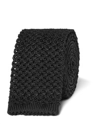 Cravate en soie en tricot noire Tom Ford