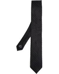Cravate en soie en tricot noire Tonello