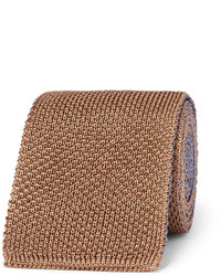 Cravate en soie en tricot tabac Boglioli