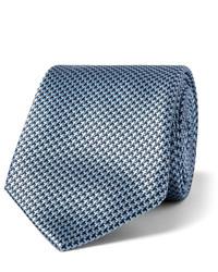 Cravate en soie géométrique bleu clair Brioni
