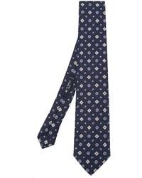 Cravate en soie géométrique bleu marine Etro