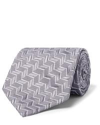 Cravate en soie géométrique grise Charvet