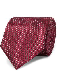 Cravate en soie géométrique pourpre foncé Brioni