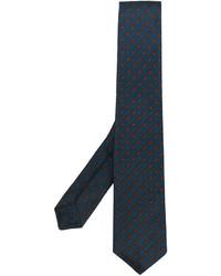 Cravate en soie imprimée bleu canard Kiton