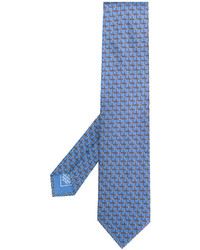 Cravate en soie imprimée bleu clair Brioni