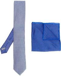 Cravate en soie imprimée bleu clair Canali