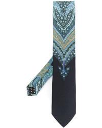 Cravate en soie imprimée bleu clair Etro