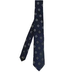 Cravate en soie imprimée bleu marine Armani Collezioni