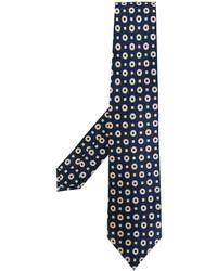 Cravate en soie imprimée bleu marine Kiton