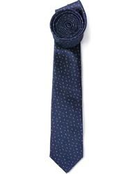 Cravate en soie imprimée bleu marine Lanvin