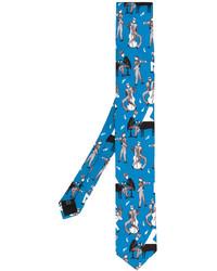 Cravate en soie imprimée bleue Dolce & Gabbana