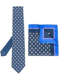 Cravate en soie imprimée bleue Etro