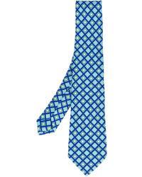 Cravate en soie imprimée bleue Kiton