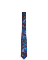 Cravate en soie imprimée bleue Paul Smith