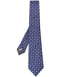 Cravate en soie imprimée cachemire bleu marine Canali