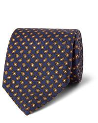 Cravate en soie imprimée cachemire bleu marine Dunhill