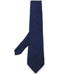 Cravate en soie imprimée cachemire bleu marine Etro