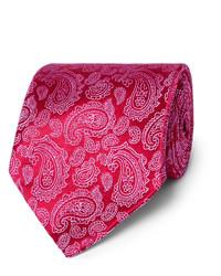 Cravate en soie imprimée cachemire fuchsia Charvet