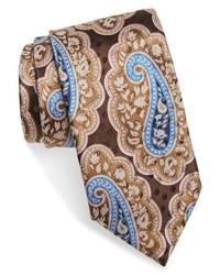Cravate en soie imprimée cachemire marron clair