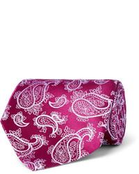 Cravate en soie imprimée cachemire pourpre foncé Charvet