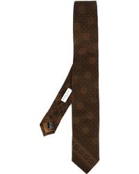 Cravate en soie imprimée marron foncé Boglioli
