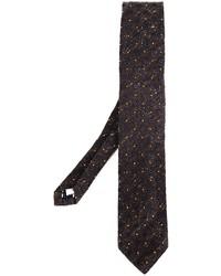 Cravate en soie imprimée marron foncé Lardini