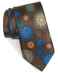 Cravate en soie imprimée marron