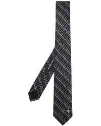 Cravate en soie imprimée noire Alexander McQueen