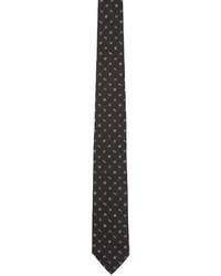 Cravate en soie imprimée noire Kenzo