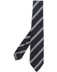 Cravate en soie imprimée noire Kiton