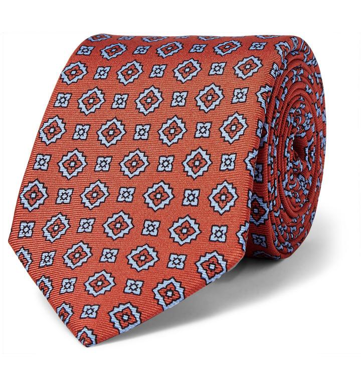 Cravate en soie imprimée orange Dunhill