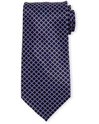 Cravate en soie imprimée pourpre foncé